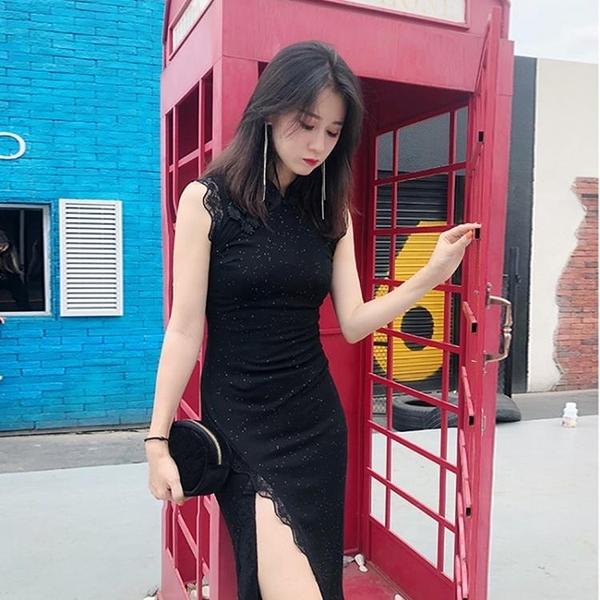 改良旗袍 2020新款旗袍改良版中國風優雅復古長款氣質黑色連衣裙年輕款少女