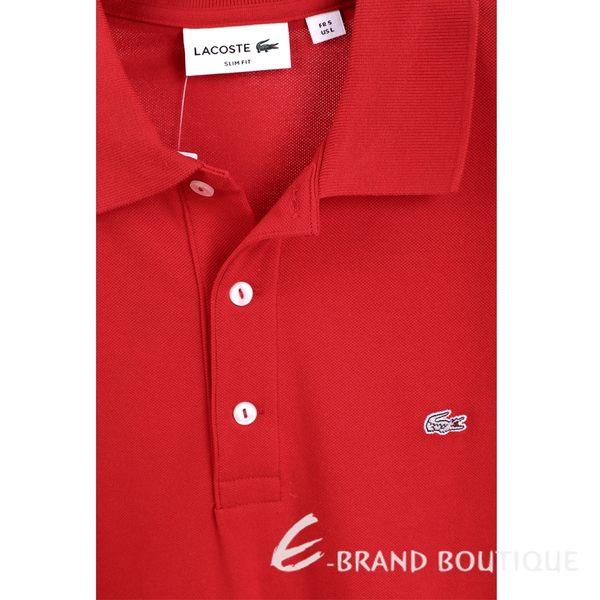 LACOSTE Slim Fit 紅色三釦網眼修身短袖POLO衫(男款) 1630057-54