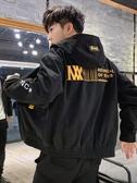 男士外套春秋冬季韓版潮帥氣衣服休閒學生工裝牛仔加絨加厚夾克男