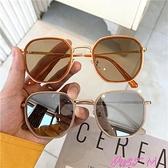 墨鏡網紅款ins街拍墨鏡韓版潮2021新款復古圓多邊形太陽鏡女小框眼鏡 JUST M