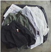 2018夏季新款立領刺繡襯衫男士日系純色薄款