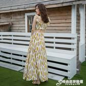 夏海灘渡假歐美復古仙女神高腰魚尾裙露背露肩吊帶長裙連身裙 時尚芭莎