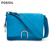 FOSSIL Finley 飽和藍色柔軟麂皮x真皮時尚方包