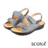 SCONA 全真皮 手工舒適厚底涼鞋 藍色 22501-2