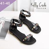 大尺碼女鞋-凱莉密碼-夏日性感寶石羅馬真皮平底涼鞋2cm(41-46)【BY130-79】黑色