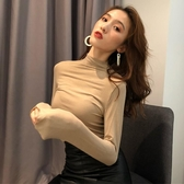長袖T恤 韓版簡約純色chic風百搭高領純色T恤女秋冬新款長袖打底衫上衣潮