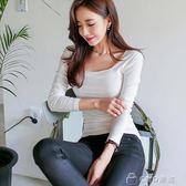 女生長T   棉長袖t恤女方領露鎖骨修身韓國黑色打底衫女裝上衣衣   ciyo黛雅