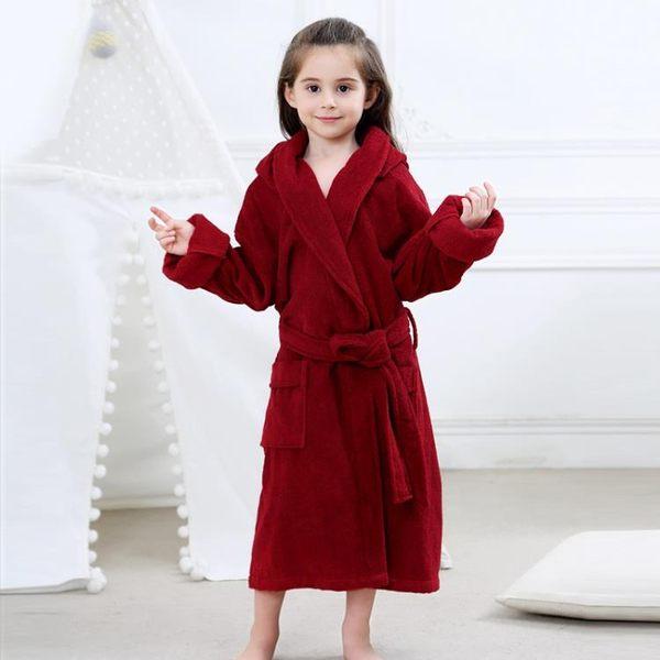 一件82折-A類棉質毛巾料兒童浴袍帶帽可拆男女大童加長版親子浴衣中厚四季