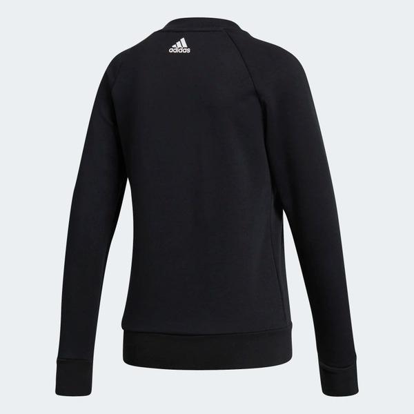 Adidas ESS LIN SWEAT [S97079] 女款 運動 休閒 棉質 長袖 上衣 大學T 黑白