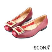SCONA 全真皮 簡約時尚方扣平底鞋 紅色 22420-2