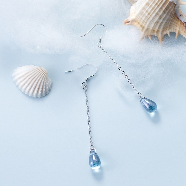 925純銀 藍色水滴 長款垂墜耳環-銀 防抗過敏 無耳洞可改夾