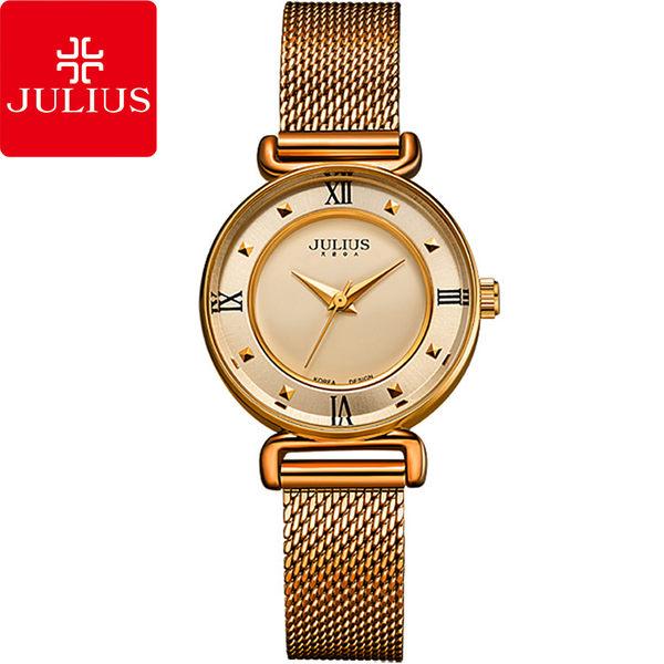JULIUS 聚利時 一個人的旅行米蘭帶腕錶-古銅金/28mm 【JA-728E】
