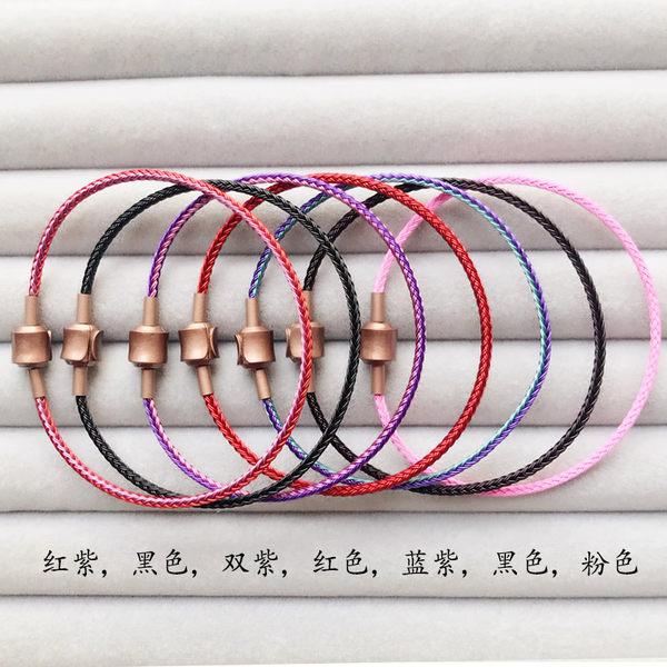 2mm超細防水鋼絲手繩 穿3D硬金飾品黃金轉運珠男女款皮繩手鍊 無糖工作室