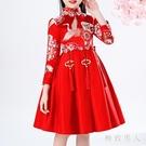 女童旗袍洋裝加絨秋冬季中國風唐裝漢服刷毛寶寶公主連身裙新年拜年禮服LXY4586【極致男人】