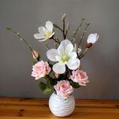 仿真玫瑰花假花盆栽擺設裝飾花藝擺件zg