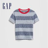 Gap 男幼童 舒適條紋圓領短袖T袖 577611-淺藍色