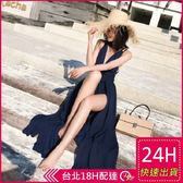 梨卡★現貨 - 波西米亞性感綁帶交叉大露背洋裝連身裙長洋裝長裙連身長裙沙灘裙C6268