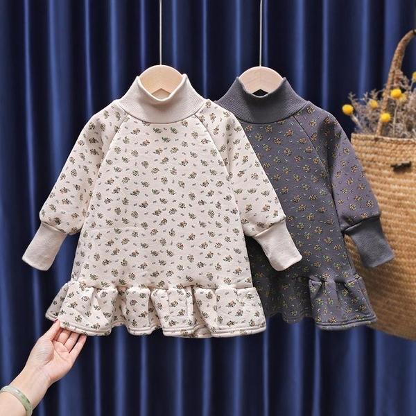 女童洋裝 女童秋冬衛衣裙2021新款韓版兒童洋氣加絨小童連身裙女寶寶冬裝潮 維多原創