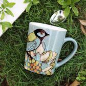 馬克杯手繪大容量創意咖啡杯馬克杯陶瓷杯子個性情侶家用水杯早餐牛奶杯