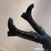 騎士靴女系帶高筒靴2020秋冬季新款中跟女鞋長筒網紅Ins瘦瘦靴子 露露日記