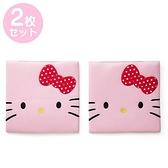 小禮堂 Hello Kitty 方形透氣椅墊組 車用椅墊 尼龍坐墊 涼椅墊 (2入 粉 大臉) 4968812-42435