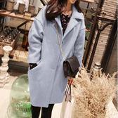 大衣外套LoVie韓版時尚氣質寬鬆休閒純色中長款長袖翻領毛呢長袖大衣外套【03F0169】