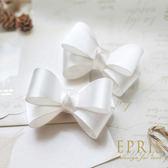 韓國直送-白色緞面蝴蝶結鞋扣鞋夾配飾