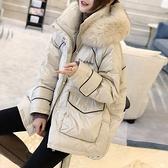 羽絨夾克-白鴨絨-連帽狐狸毛領短款繭型女外套2色73zc39【時尚巴黎】