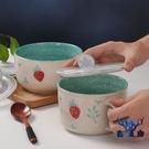 便當盒陶瓷碗帶蓋密封碗保鮮盒帶蓋飯盒圓形水果【古怪舍】