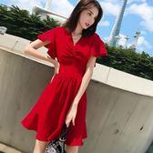復古裙大碼 顯瘦遮肚子雪紡連身裙V領收腰顯瘦魚尾短裙紅色洋裝 rj1173『pink領袖衣社』