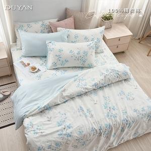 《DUYAN 竹漾》100%精梳棉雙人床包被套四件組-幕間如煙