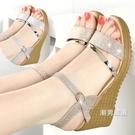 涼鞋 春夏季女鞋坡跟涼鞋女平底高跟鞋百搭...