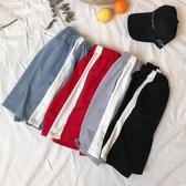 原宿風運動褲女寬鬆BF韓國ulzzang條紋闊腿五分短褲學生跑步褲夏