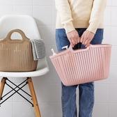 鏤空塑料購物籃仿藤編浴室洗澡籃洗漱籃手提雜物收納籃買菜籃子 【快速出貨】