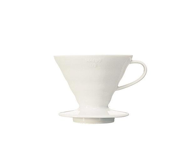 HARIO濾杯 V60白色陶瓷圓錐形濾杯VDC-02W【1-4人份】--【良鎂咖啡精品館】