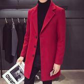 風衣男風衣外套秋裝2018新款中長款韓版潮流帥氣毛呢子大衣YJ1279【雅居屋】
