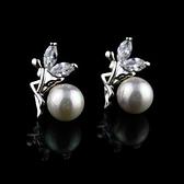 耳環 925純銀 鑲鑽-迷人天使生日情人節禮物女飾品2色73hz8【時尚巴黎】