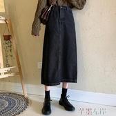 牛仔半身裙復古高腰牛仔裙秋冬韓版寬鬆百搭A字半身裙女中長款裙子春季特賣