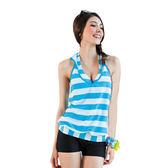 ★奧可那★ 都會水漾藍條紋外罩三件式泳衣