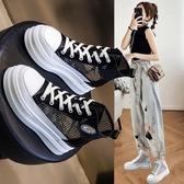 鞋子女2020年新款夏季百搭涼鞋厚底松糕網紗靴鏤空馬丁靴薄款透氣