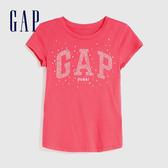 Gap女童 Logo創意印花圓領短袖T恤 625123-玫紅色
