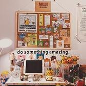 *片片吖*軟木板留言板掛式簡約實木框背景照片牆個性創意圖釘板 HM 范思蓮恩