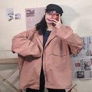 複古個性寬松韓版女孩夾克上衣 秋冬女士潮流百搭工裝外衣 港風女款秋季女生女裝休閒外套