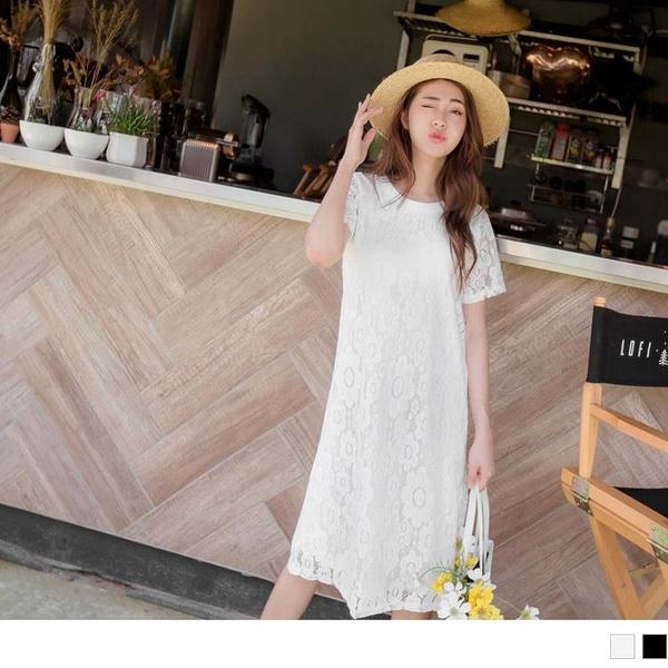 《DA6643-》氣質鏤空雕花蕾絲純色洋裝 OB嚴選