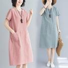 棉麻洋裝 春夏季條紋休閒寬鬆短袖棉麻連身...