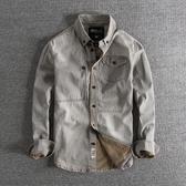 長袖襯衫 雅痞復古水洗做舊秋冬歐美修身百搭男士牛仔長袖襯衫
