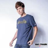 BIG TRAIN 唐獅潮文字短袖T-男-深藍