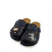 台灣WONDER GO  大野狼與三隻小豬 牛皮鞋墊 經典質感前包涼拖鞋《7+1童鞋》D064黑色
