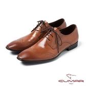 CUMAR男鞋 英式壓紋經典焦色皮鞋-棕咖