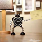 變形機器人鬧鐘創意學生小鬧鐘可愛兒童卡通鬧鐘臺鐘座鐘金屬鬧表 黛尼時尚精品